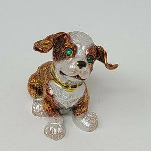 Dog Jewelry Trinket Box Metal Bejeweled Hinged